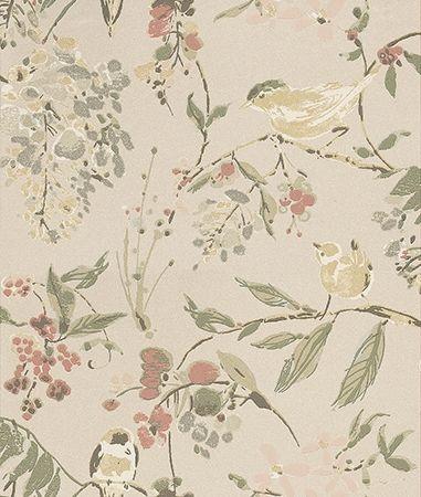 Nina Campbell Penglai Pearl and Pastel Green / Pearl / Pink Wallpaper main image
