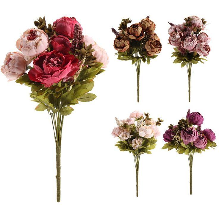 5 Colores Pretty Encanto 1 Bouquet Artificial Peony Flores Del Partido Del Festival Decorativo Flor de La Boda de Navidad Inicio Tatuajes de La Flor
