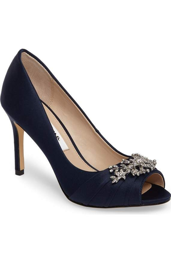 Rumina Embellished Peep Toe Pump in Blue Satin