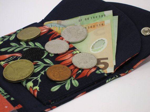 Compact Wallet Kakabeak/kowhai ngutukaka by thesewphist on Etsy