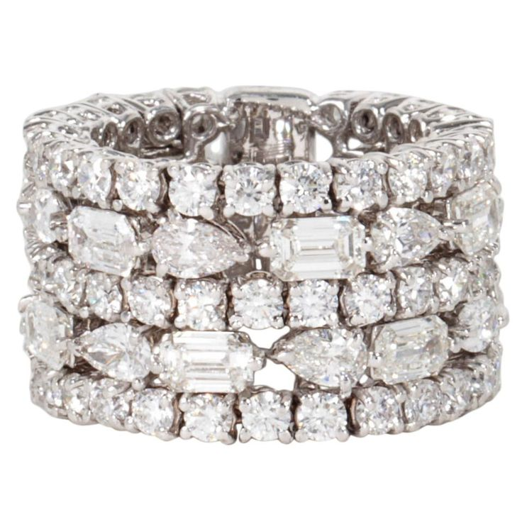 Unique Multi-shape Wide Diamond Band ring | From a unique collection of vintage band rings at https://www.1stdibs.com/jewelry/rings/band-rings/