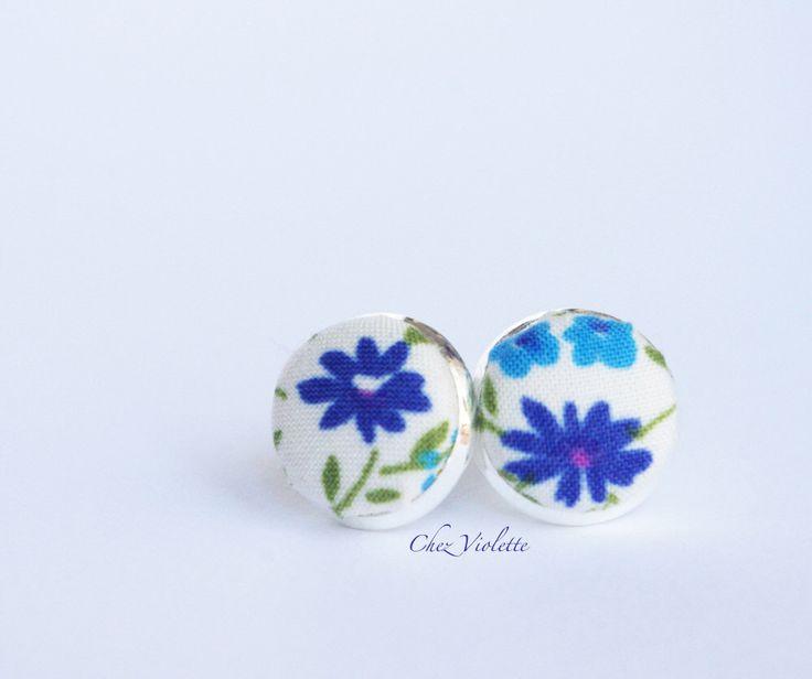 Tiny earrings stud blue floral stud earrings small earring studs by chezviolette on Etsy https://www.etsy.com/listing/208963544/tiny-earrings-stud-blue-floral-stud