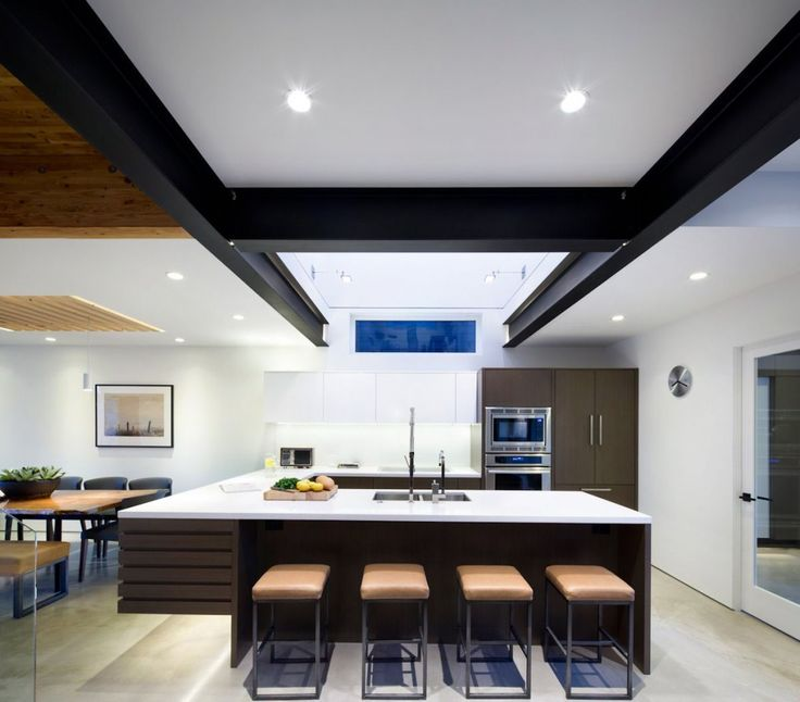 Modern Compact Kitchen Design With White Laminate Countertops And Leather  Brown Stools Also Modern Kitchen Appliances