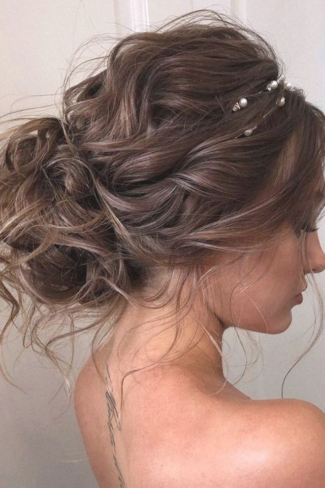 Wedding Hairstyles 2019 Curly Low Bun With Loose Curls Veronika Belyanko In 2020 Messy Hair Updo Long Hair Styles Hair Styles