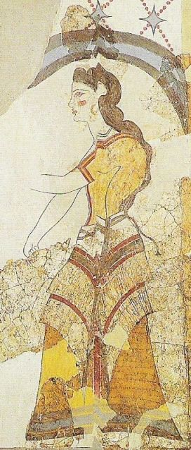 Minoan clothing was suitable to the mild climate of Crete and bore simple geometric designs. Men wore loincloths and kilts. Women wore robes that had short sleeves and layered flounced skirts. Women's clothing often fitted on top and open allowing the breasts to be exposed. They wore bracelets on their ankles and were decorated with earings, cosmetics and hair design.