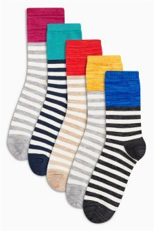 Next Red/Blue/Yellow Stripy Space Dye Ankle Socks Five Pack £10