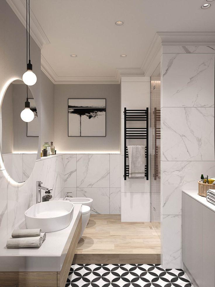 Les salles de bains sont construites sur un niveau en bois, avec une coiffeuse en bois … #WoodWorking
