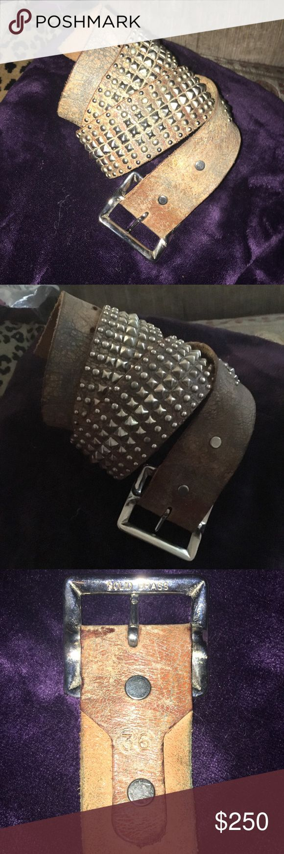 Calleen Cordero belt sz 36 Calleen Cordero handmade belt. Worn a few times. Grey/silver leather and nickel grommets  are hand done on this belt. Statement piece. Just sitting in my drawer. Calleen Cordero Accessories Belts