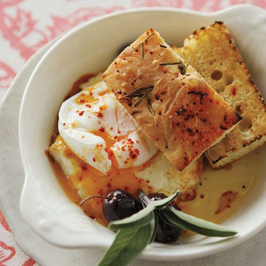 Poached Eggs with Baked Feta and Olives // More Great Brunch Dishes: http://www.foodandwine.com/slideshows/brunch #foodandwine