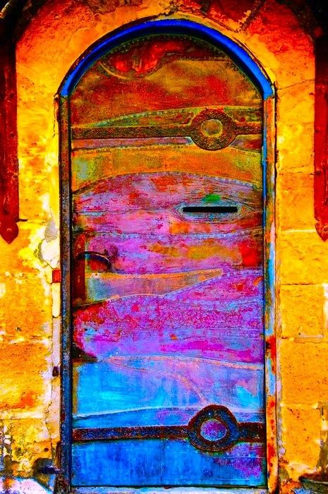 Colourful painted doors