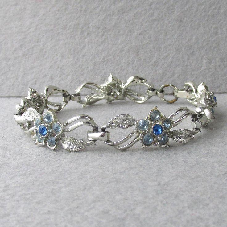Vintage 1950's Coro Blue Rhinestone Flower Links Rhodium Plated Bracelet