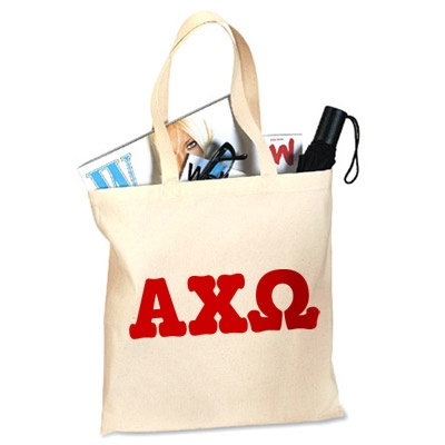 Alpha Chi Omega printed tote bag perfect for your everyday needs at a low cost. The Greek letters for Alpha Chi Omega will be used in the color of your choice.  $15.95
