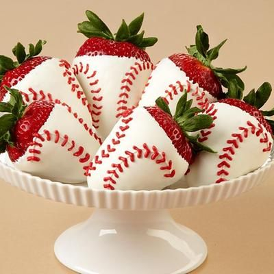 6 Hand-Dipped Home Run Berries...I think I can use magic shell to make these!