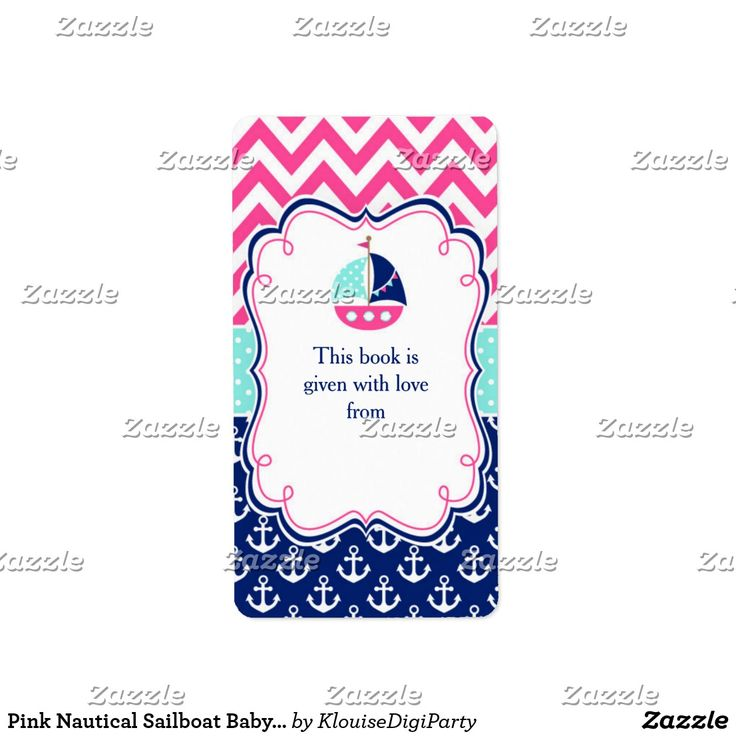 Pink Nautical Sailboat Baby Shower Bookplate