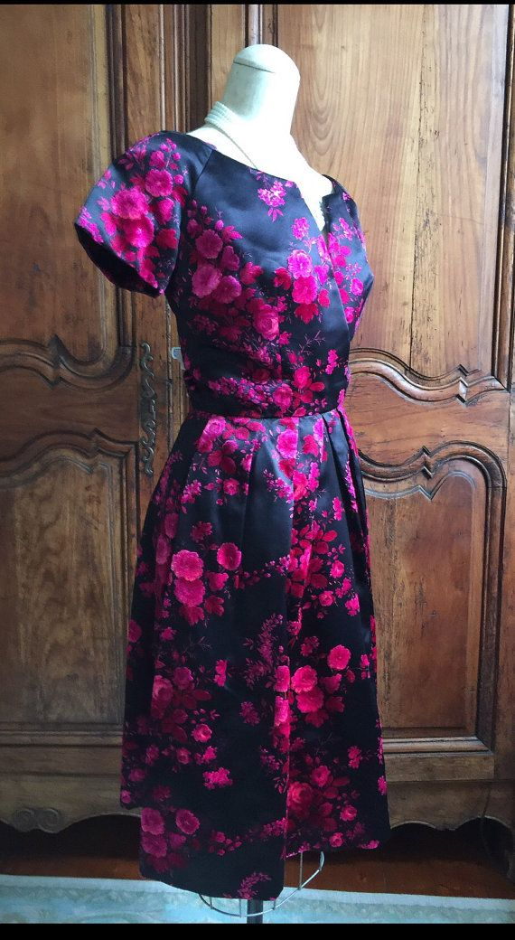 1950s Roses Vintage Dior Party Dress 1950s by VintageDressUpStore