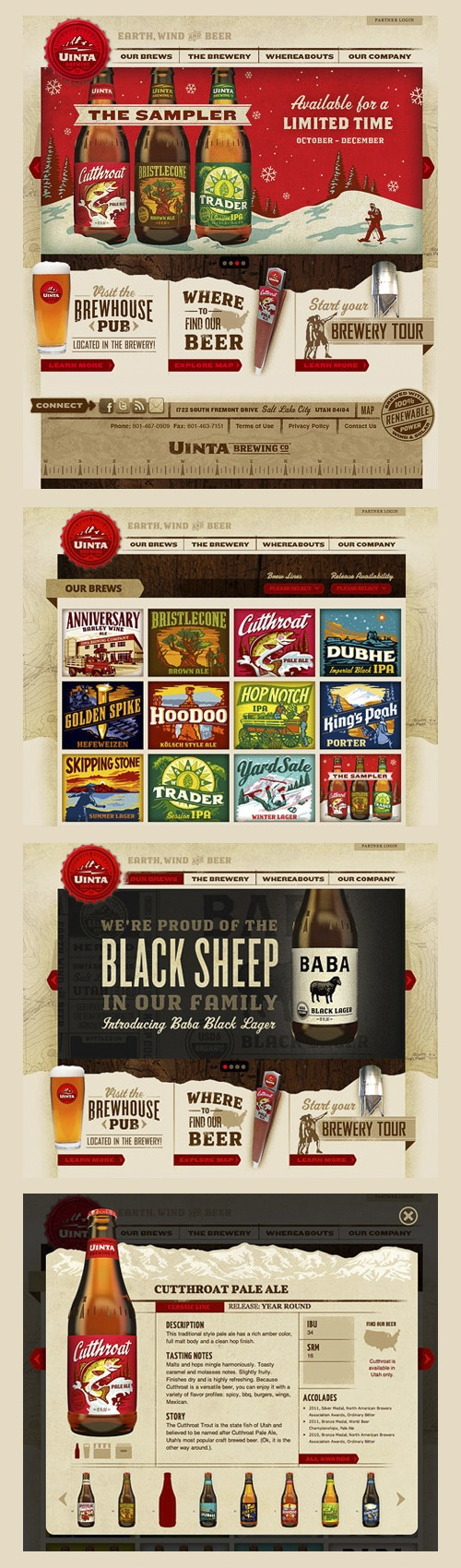 Uinta Brewing Website Designed by The Tenfold Collective *** The Uinta Brewing Co. website has officially launched. For Uinta, it's all about the beer, so we focused our attention on making sure each beer is beautifully displayed with plenty of information for the interested beer geek. This site is chock full of detail and texture to convey the outdoor Utah lifestyle, as well as the richness and diversity of the Uinta brews.