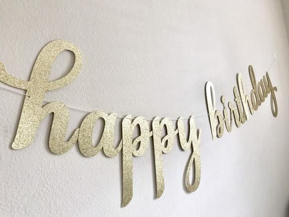 Glitter Script Birthday Sign Custom Cursive Glitter Banner Happy 1st Birthday Banner First Birthday Decor. 1st Birthday Party Banner