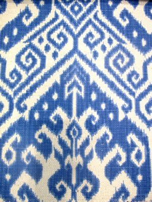 Love this Ikat fabric, I have some edwardian antique chairs i want to upholster soon and need to gather samples and ideas.