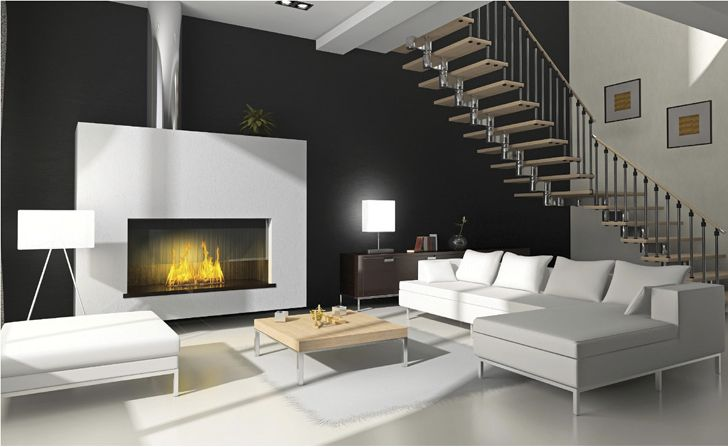 modern living room, fireplace
