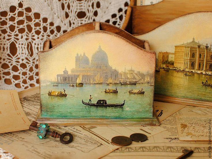 """Купить Карандашница """"Вспоминая Венецию"""" - карандашница, карандашница декупаж, карандашница деревянная, для ручек, карандаш, органайзер"""