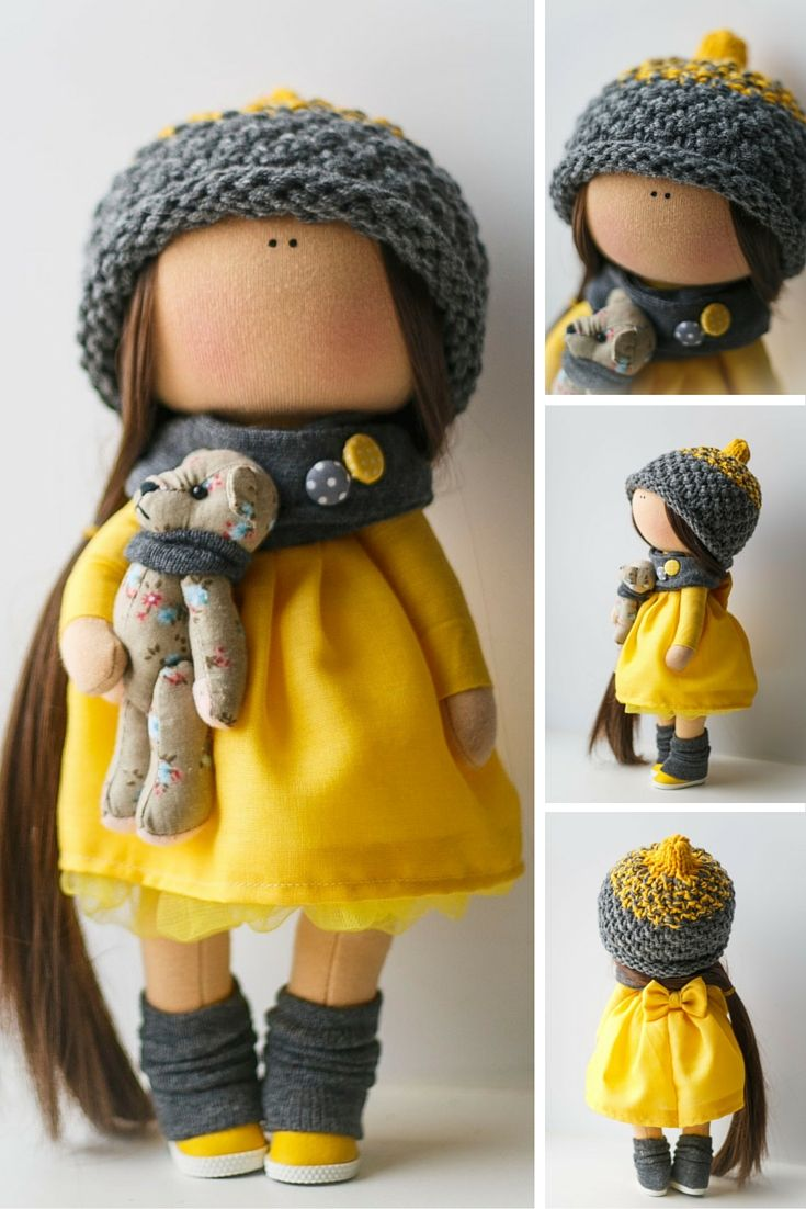 Handmade doll Tilda dolls Decorative Doll Fabric Doll Cloth doll yellow grey…