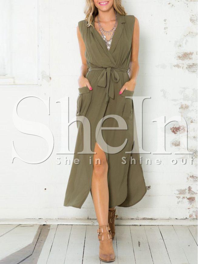 Vestito smanicato scollo a V verde militare