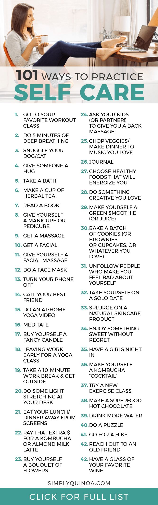 What is self care? Learn why it's important PLUS get 101 Ways to Practice Self-Care for yourself! Simply Quinoa #selfcare #simplyquinoa #selfcaretips