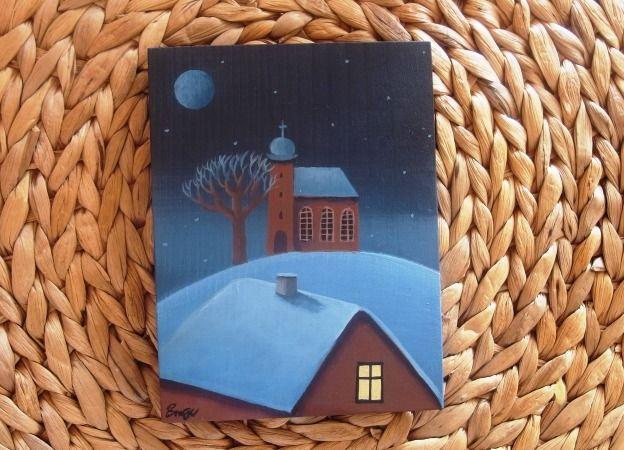 Sen jedné letní noci .... malba akrylem na smrkovém dřevě 16 x 12,3 cm