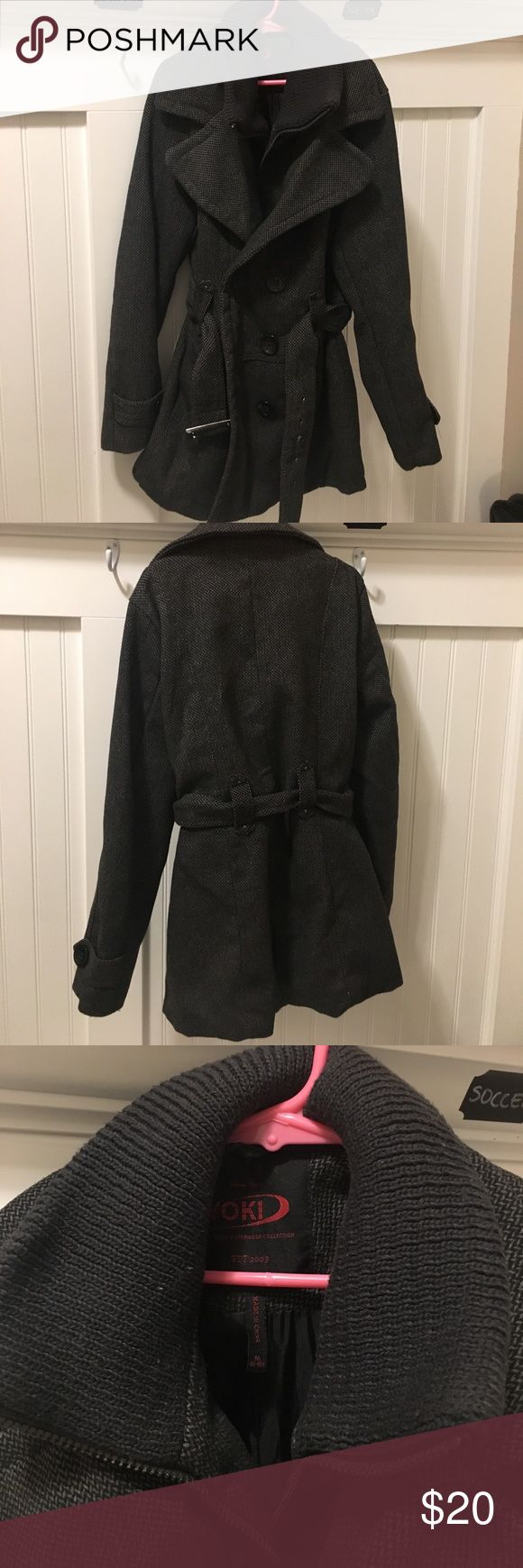Girls Gray and Black Pea Coat Fashionable pea coat with zipper poachers, cute belt and warm, soft collar. Excellent condition. Girls M but is more like a L. Yoki Jackets & Coats Pea Coats