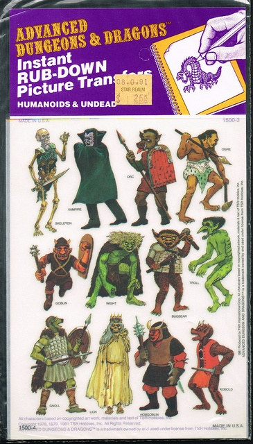 Advanced Dungeons and Dragons Picture Transfers (Humanoids and Undead)  Series 1 - 02, 1981 by Aeron Alfrey, via Flickr