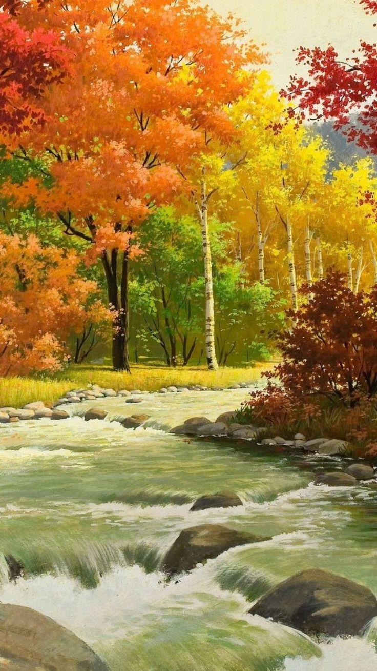1080x1920 Wallpaper otoño, paisaje, pintura, río, madera