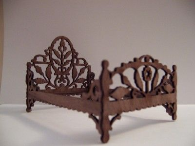 Victorian Dollhouse Bed (walnut) by Teresa's Miniature Creations... a delightful bed for a fairy:):)