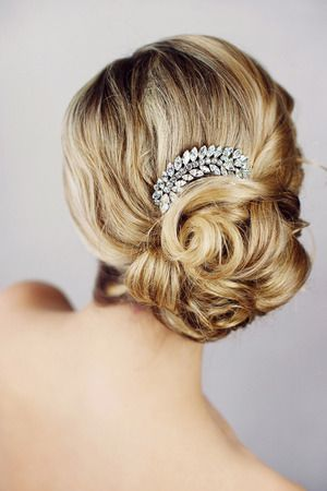Wedding Hair - Low, Curled Bun with Jeweled Wedding Comb. Elegant and Classic. Bridal Collection.