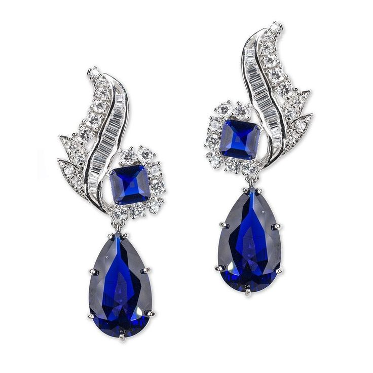 Sapphire Pear Drop Pierced Earring