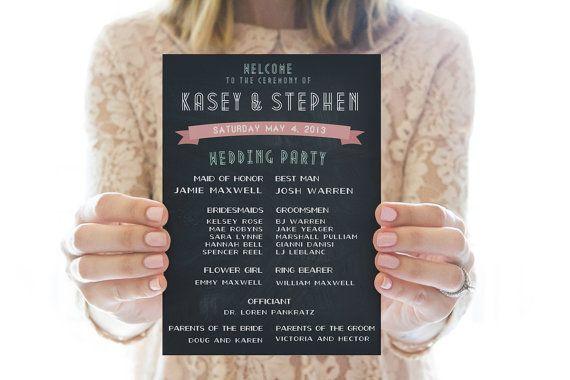 Printable Wedding Program // Chalkboard by RedLetterVows on Etsy