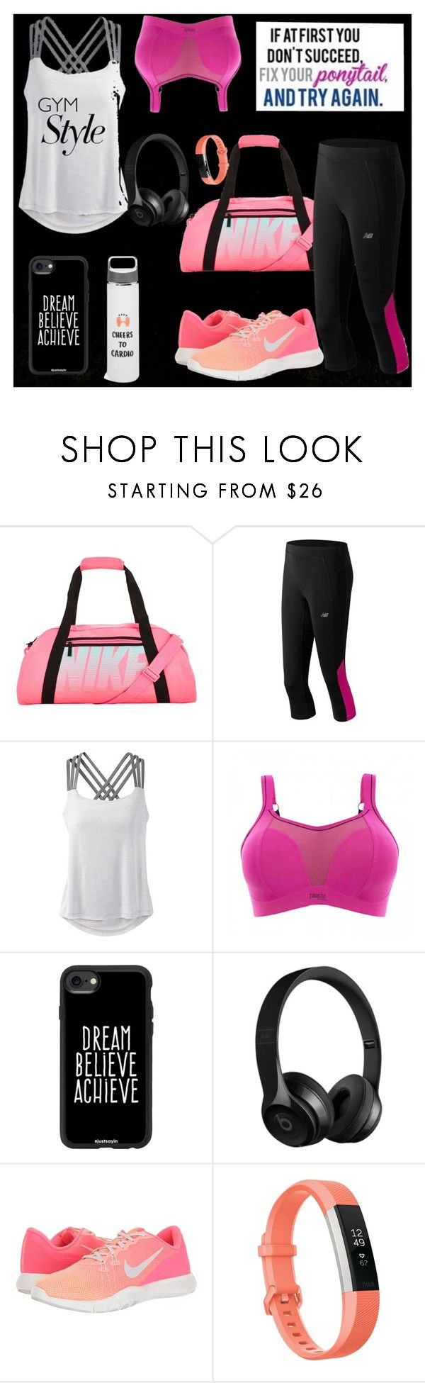 """""""#gymStyle in black and pink.. start your day with style ^_^"""" by mrunalini-hazari ❤ liked on Polyvore featuring NIKE, New Balance, prAna, Panache, Casetify, Fitbit and Celebrate Shop"""
