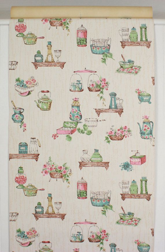 1950s Vintage Wallpaper Pink and Blue Kitchen on Wood Grain by