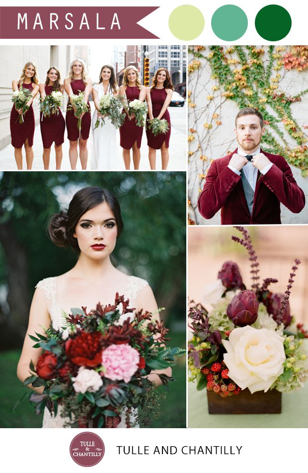 Pantone Marsala Wedding Color Combo Ideas – Color of the Year 2015. love the bridesmaids' dresses