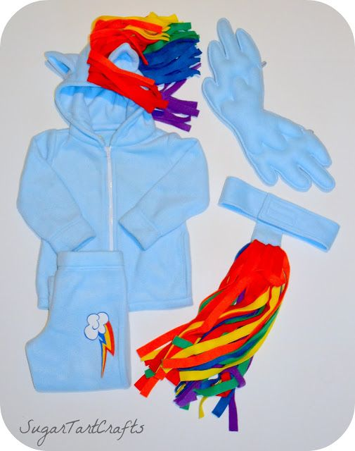Parts of Rainbow Dash Costume, Hoodie with ears and mane, pants with cutie mark, tail and wings
