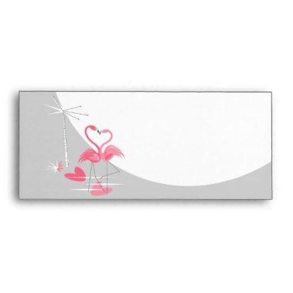 #Flamingo Love Large Moon business envelope - #wedding #love #couple