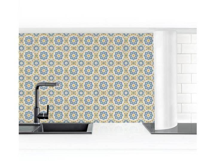 Bilderwelten Küchenrückwand »Florale Fliesen blau gelb