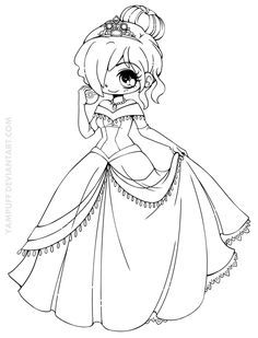 Disney Princess Coloring Pages Anime Chibi Girl Chibi