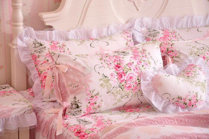 Розовый и белый девочки кружевными оборками галстук-бабочка тюль Пододеяльник постельное белье