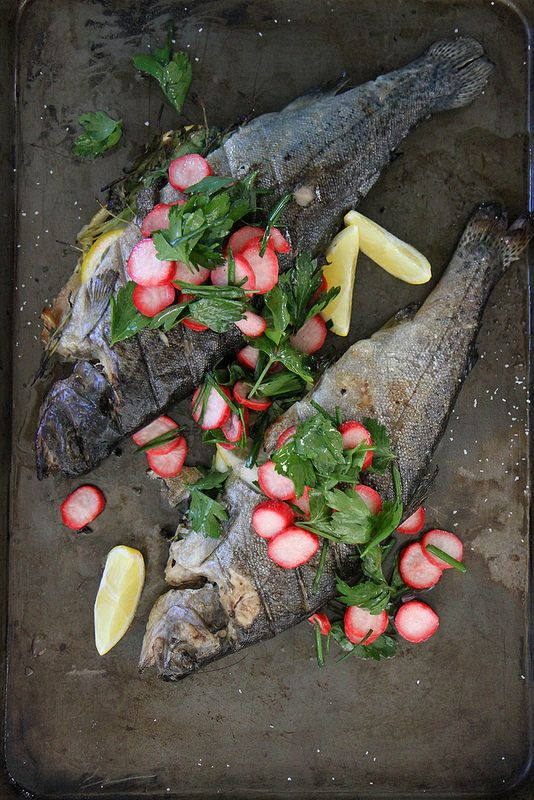 Grilled White Fish with Pickled Radish Salad