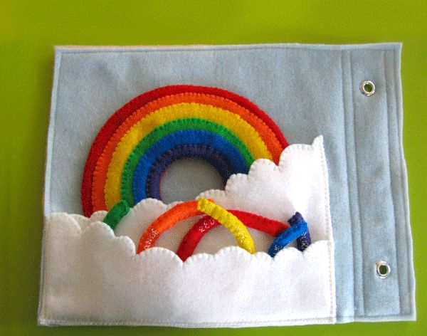 Imagine Our Life :: Rainbow Quiet Book Page... Love this page! Quiet books! What an awesome idea!