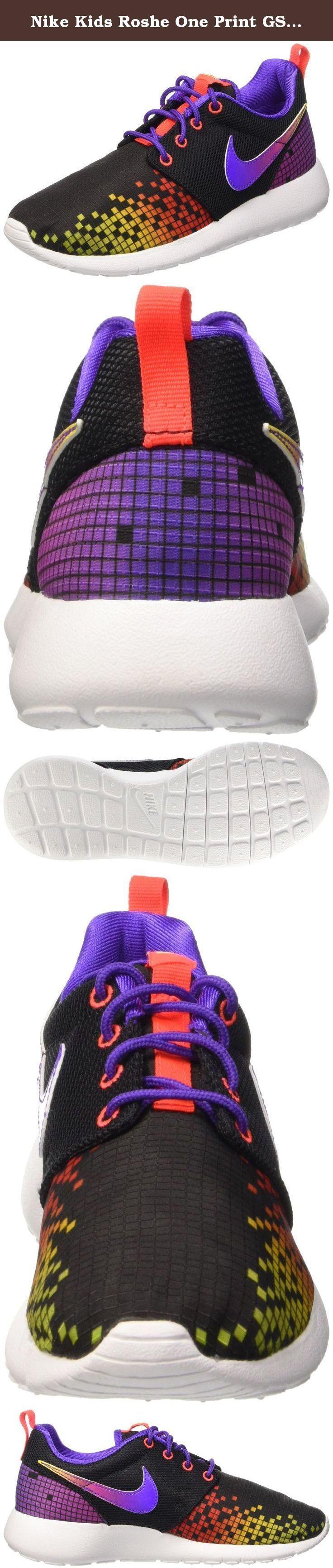 Nike Kids Roshe One Print GS, BLACK/WHITE-HYPER VIOLET-VOLT, Youth Size 5.5. Nike Kid's Roshe One Print GS, BLACK/WHITE-HYPER VIOLET-VOLT, Youth Size 5.5.