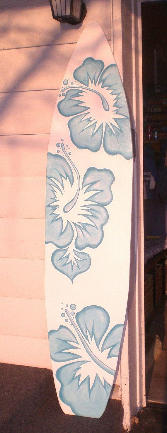 Surfboard bathroom decor - 6 Foot Wood Hawaiian Surfboard Wall Art Decor Or Headboard Kids Room Too