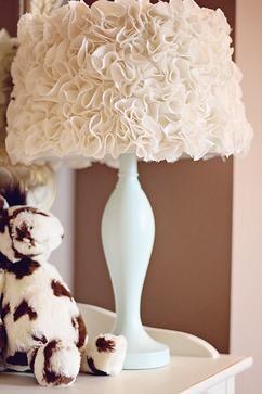 Een bestaande lampenkap opgepimpt met toefjes stof. Erg mooi resultaat!