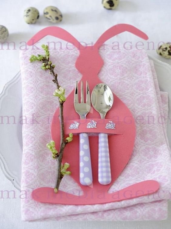 Adorable pink bunny place setting, great for a kid's Easter table: