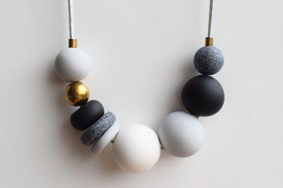 Grijs Statement ketting ketting van de zwart-wit Handmade